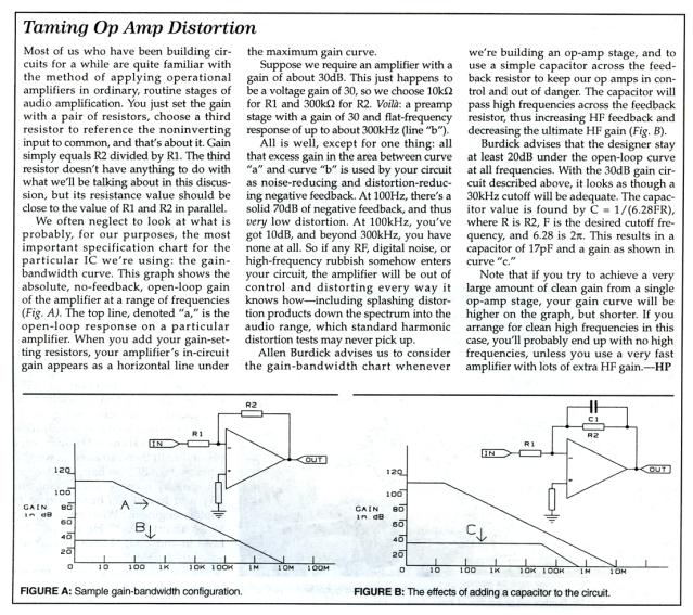 "Allen Burdick sidebar on RF gain compensation, ""Taming Op Amp Distortion"""